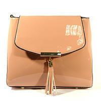 Лаковая сумочка через плечо 5036 цвета пудры, расцветки в наличии
