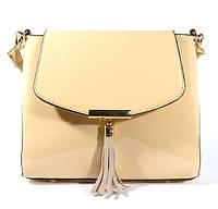 Лаковая сумочка через плечо 5036 бежевая, расцветки в наличии