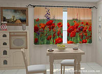 Фотошторы Чудесные маки в кухню 1,5м х 2,5м