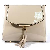 Лаковая сумочка через плечо 5036 серо-бежевая, расцветки в наличии