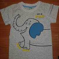 Футболка детская хлопковая серая со слоником для мальчика