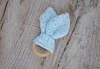 """Прорезыватель-кольцо """"Double ears"""",  Голубые бульбашки, фото 1"""