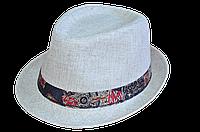 Шляпа Джокер лен  белый+цветной кант.