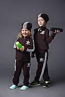 """Детский тёмно коричневый спортивный костюм """"Адидас лампасы двойка""""(девочка,мальчик)   Арт-5034/44"""