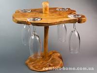 Мини бар Деревянный Фигурный 1 ярус 4 бокала