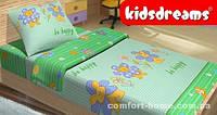 Комплект постельного белья в кроватку KidsDreams BE HAPPY ЗЕЛЁНЫЙ 110х150 см