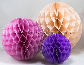 Бумажный шар-соты, персиковый, 20 см