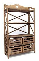 Этажерка деревянная на 3 полки и 4 ящика