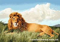 Царь зверей, гобелен без рамы 70х108 см
