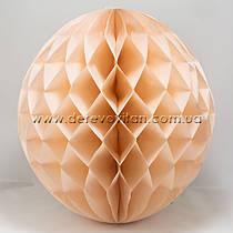 Бумажный шар-соты, персиковый, 40 см