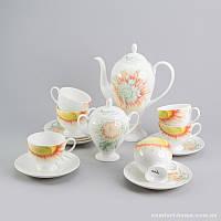 Чайный сервиз Подсолнух Sakura из костяного фарфора 14 предметов, арт. SK-0505