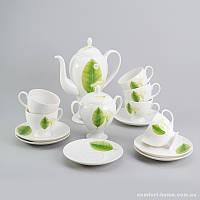 Чайный сервиз Листья Sakura из костяного фарфора 14 предметов арт SK-0501