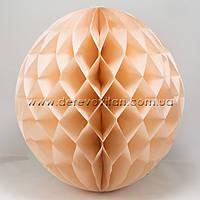 Бумажный шар-соты, персиковый, 25 см