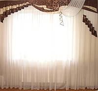Жесткий ламбрекен Чайка шоколад 2,50-3м, фото 1