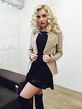 Пиджак женский из кожзама 228 на замшевой подкладке - Бежевый