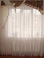 Жесткий  ламбрекен Стайл коричневый с золотом, 2м