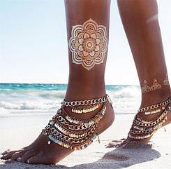 Браслет на ногу с золотыми монетками и цепочками золотой цвет