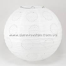 Подвесной фонарик ажурный белый, 25 см