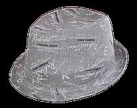 Шляпа челентанка х/б мелкий принт серый