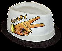 Шляпа челентанка фотопринт лен