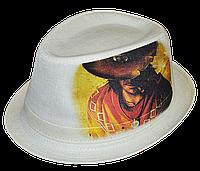 Шляпа челентанка фотопринт лен ковбой