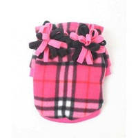 MonkeyDaze ПЛАЙД (pink plaid hoodie) розовая кенгурушка, одежда для собак, S