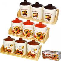 Набор емкостей для сыпучих продуктов (3 штуки на деревяной подставке) Кантри Микс 400мл