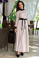 Бежевое платье в пол с поясом на талии