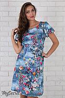 """Утонченное льняное платье для беременных """"Kayla"""", темно-голубое с цветочным принтом"""