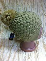 Модная  шапка - ушанка с рисунком  двойная с помпоном цвет - серый
