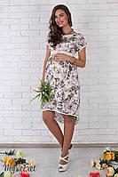 Оригинальное платье для беременных и кормящих Flyor, из штапеля, жасмин на молочном фоне