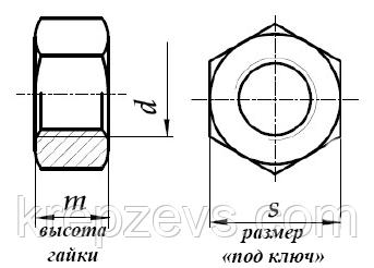 Гайка, m14, чертеж