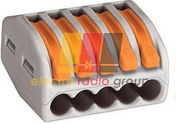 Клема 5-конт д/розпод коробок, підключ.люстр, світильн, 0,2 - 4мм2, прозора WAGO