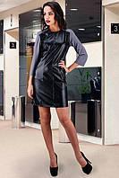 Платье из французского трикотажа и эко-кожи