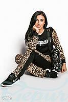 Леопардовый женский спортивный костюм двойка с модной надписью французский трикотаж