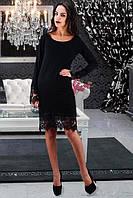 Черное платье с кружевным низом и рукавами