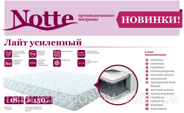 Матрас Лайт усиленный серия Notte (Come For) 800х2000х185 мм боннель до 150 кг