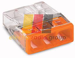 Клема COMPACT для розпод коробок 3х2,5, прозор/помаранч.,без пасти