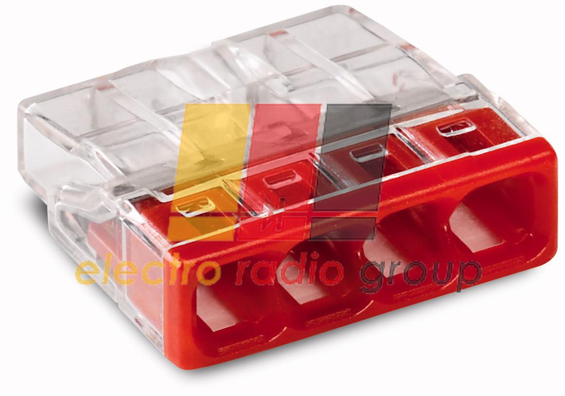 Клема COMPACT для розпод коробок 4х2,5, прозора/червона,без пасти
