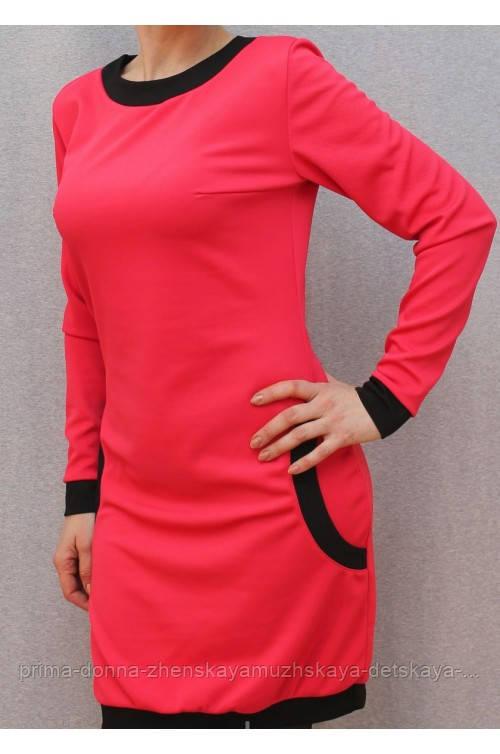 Платье с карманами коралл