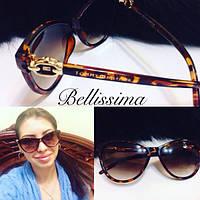 Коричневые женские солнцезащитные очки с декорированной оправой u-4316102