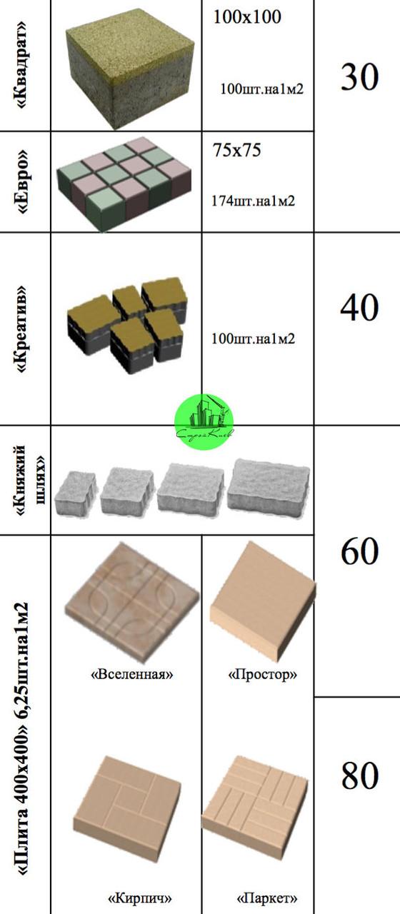 Плита 400х400 6,25 шт на 1 м2
