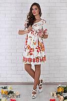 Очень женственное платье для беременных Daniella из штапеля, лилии на молочном фоне