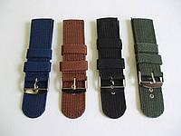 Нейлоновый тканевый ремешок для часов 24мм, черный, синий, оливковый, коричневый.