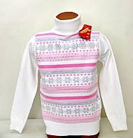 Свитер-гольф Many&Many белый с розовыми полосами. Снежинки+Сердечки