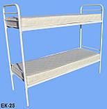 Кровать металлическая двухъярусная облагороженная ЛДСП для студентов, фото 6