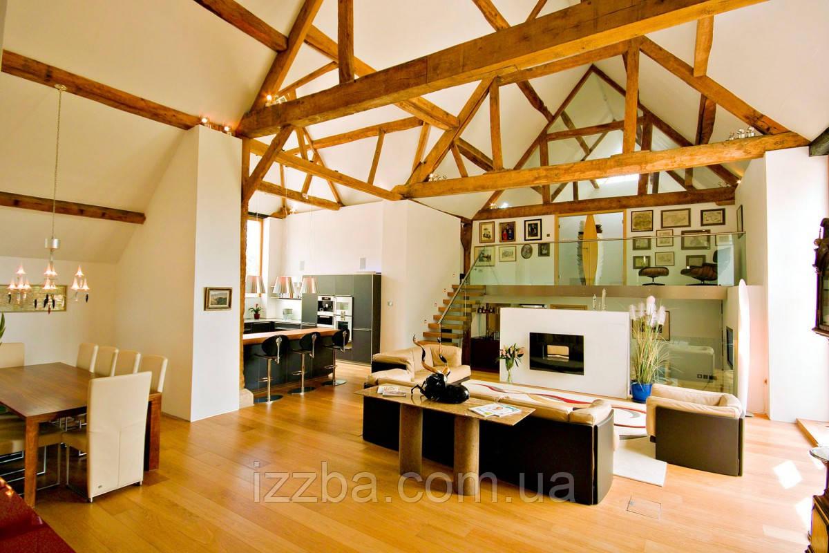 Дизайн помещения с декоративными балками на потолке