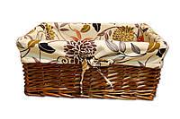 Плетеная корзинка Цветы прямоугольная