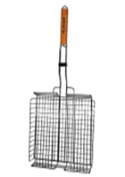 Решетка для гриля глубокая 36*28*6см с деревянной ручкой СКАУТ 0705