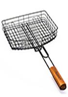 Решетка для гриля глубокая 30.5x23.5x5.5 см с антипригарным покрытием с деревянной ручкой СКАУТ 0740
